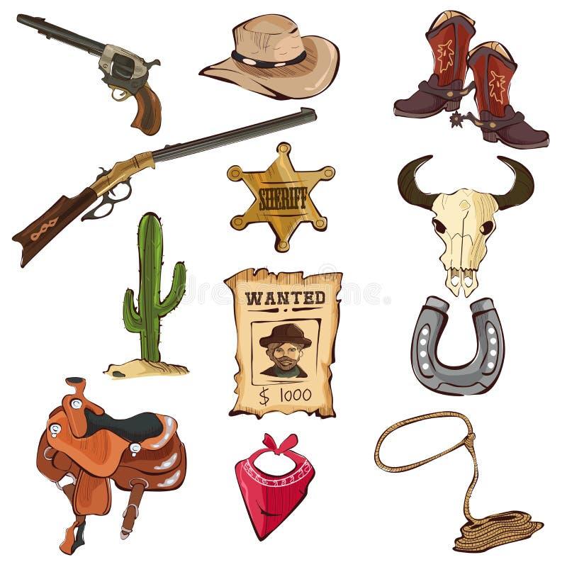 Amerykańskie Stare Zachodnie ikony royalty ilustracja