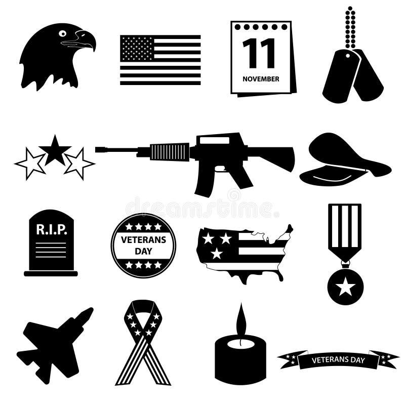 Amerykańskie weterana dnia świętowania ikony ustawiać ilustracja wektor