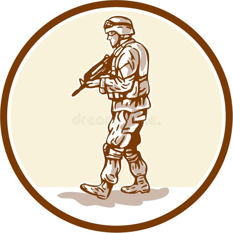 Amerykańskiego żołnierza odprowadzenia okręgu Karabinowa kreskówka ilustracji
