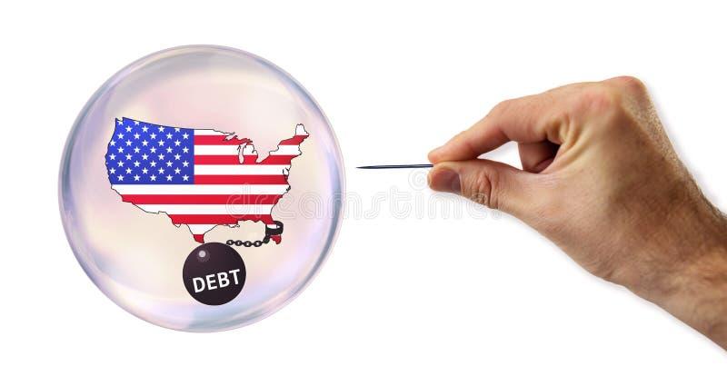 Amerykańskiego długu ekonomiczny bąbel wokoło wykorzystywać obrazy royalty free