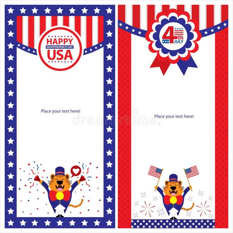Download Amerykańskiego Dnia Niepodległości Szablonu Karciani Sety Ilustracja Wektor - Ilustracja złożonej z dzień, demokratyzuje: 41950651