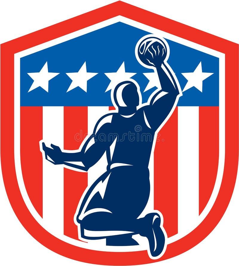 Amerykańskiego gracza koszykówki wsadu Tylni osłona Retro ilustracja wektor