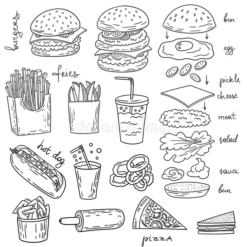 Amerykańskiego hamburgeru karmowa ilustracyjna kolekcja ilustracji