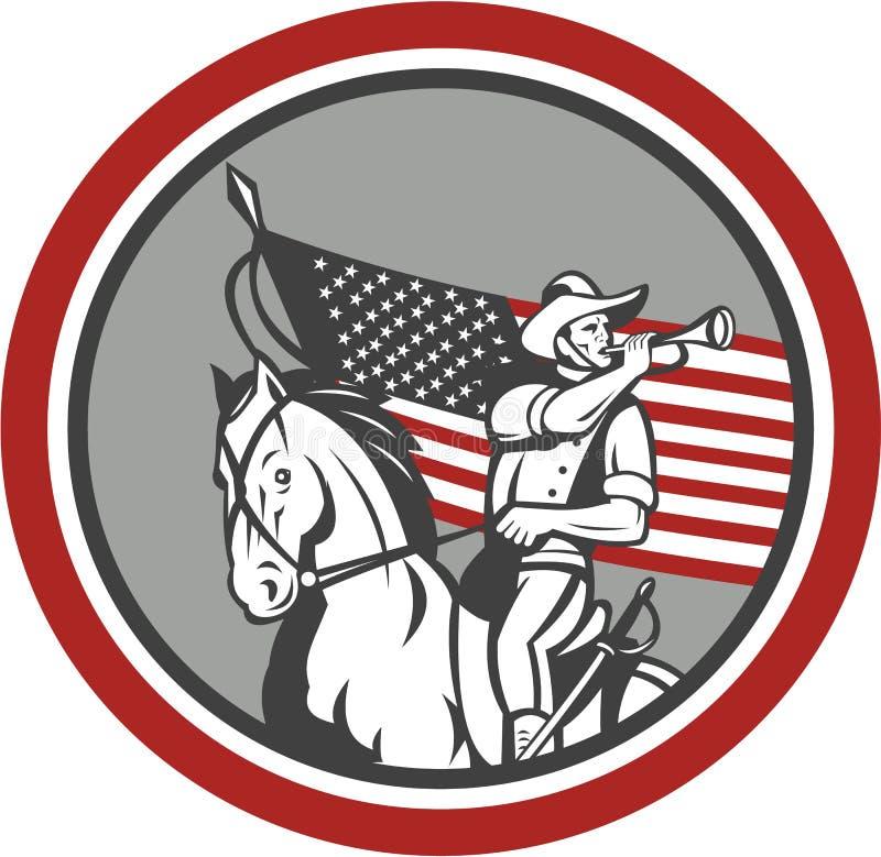 Amerykańskiego kawaleria żołnierza gądzieli Podmuchowy okrąg ilustracji