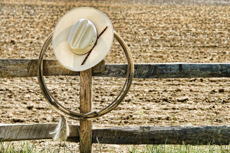 amerykańskiego kowboja ogrodzenia kapeluszowy lasso rodeo zachodni fotografia royalty free