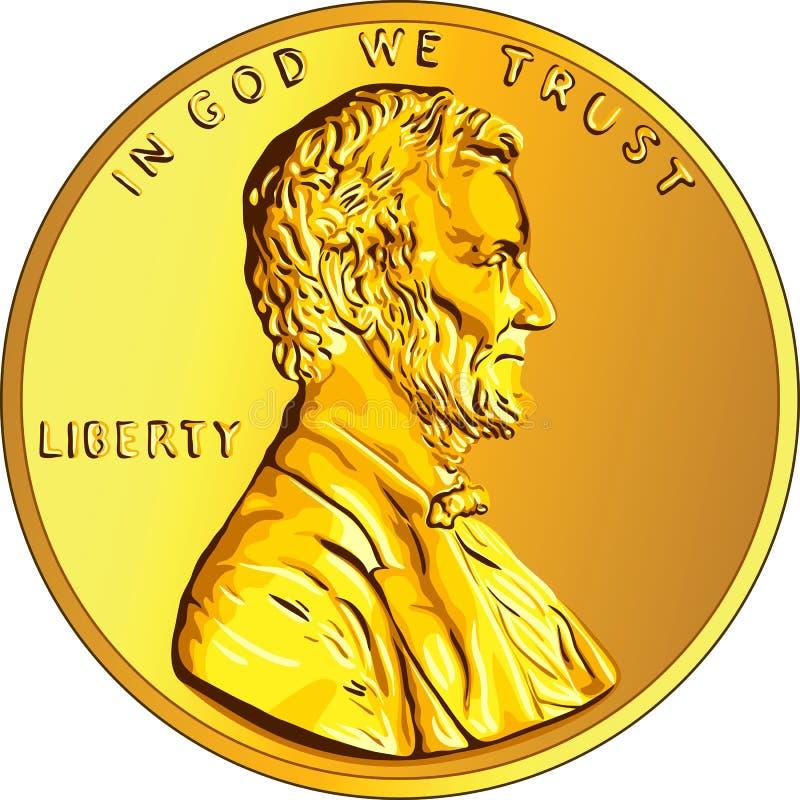 Amerykańskiego pieniądze złocista moneta jeden cent, cent ilustracja wektor