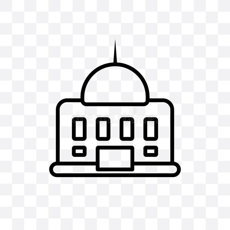 Amerykańskiego rządowego budynku wektorowa liniowa ikona odizolowywająca na przejrzystym tle, Amerykańska rządowa budynek przezro ilustracja wektor