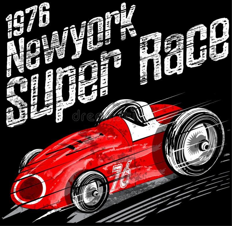 Amerykańskiego Samochodowej rasy rocznika mężczyzna T koszula Klasyczna Retro grafika royalty ilustracja