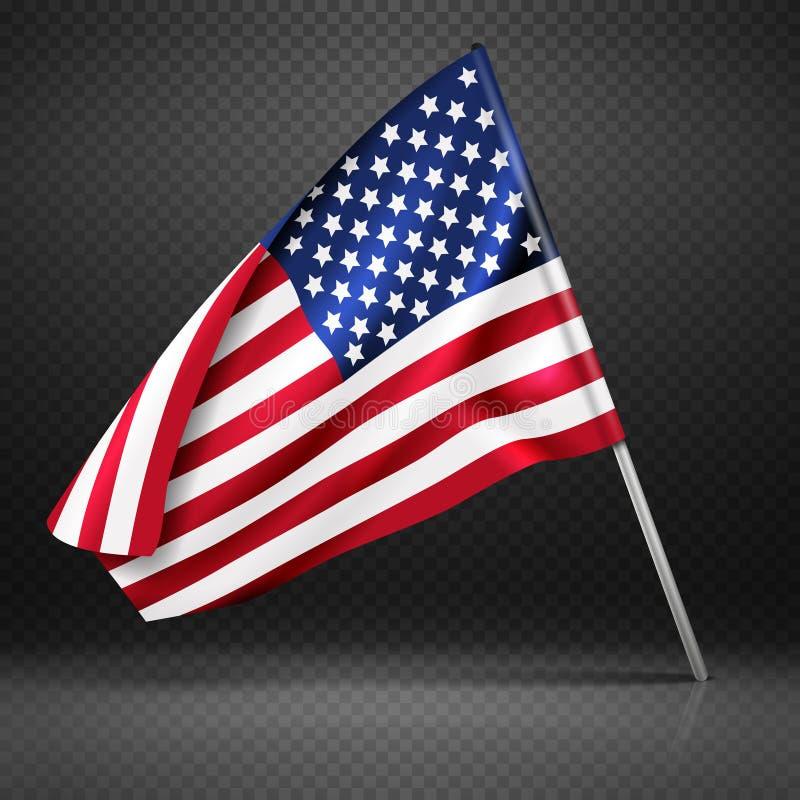 Amerykańskiego sztandaru latania falista flaga, usa flaga odizolowywająca na przejrzystej tło wektoru ilustraci royalty ilustracja