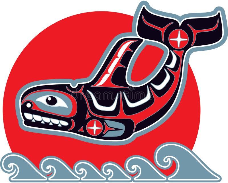 amerykańskiego sztuki zabójcy rodzimy orki stylu wieloryb ilustracja wektor