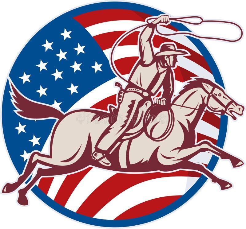 amerykańskiej kowboja flaga końska lasso przejażdżka ilustracja wektor