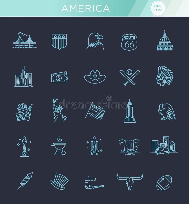 Amerykańskiej kultury ikony, kultury usa znaki royalty ilustracja