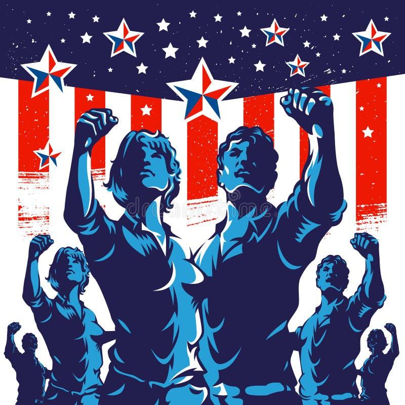 Amerykańskiej tłumu protesta pięści rewoluci plakatowy projekt ilustracja wektor