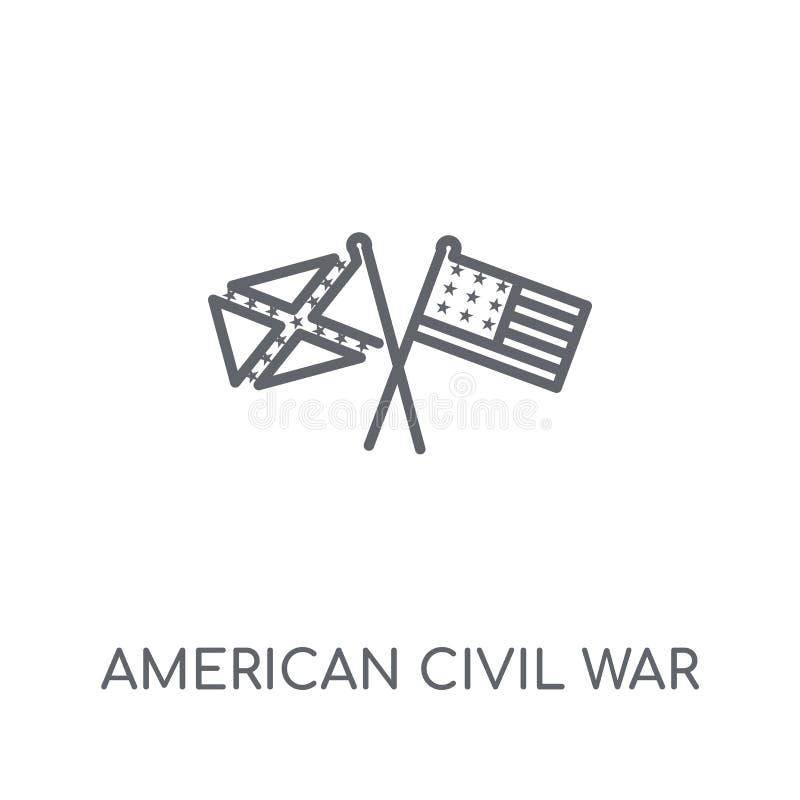 amerykańskiej wojny domowej liniowa ikona Nowożytnego konturu amerykański cywilny wa ilustracji