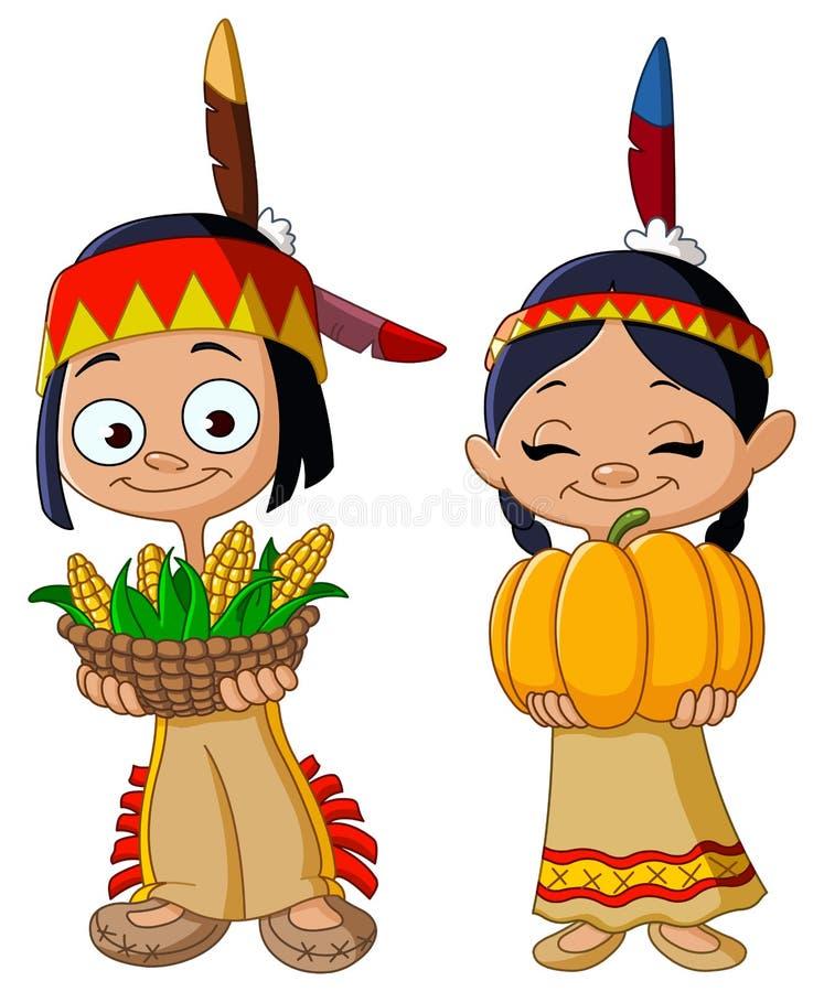 Amerykańsko-indiański dzieci ilustracji