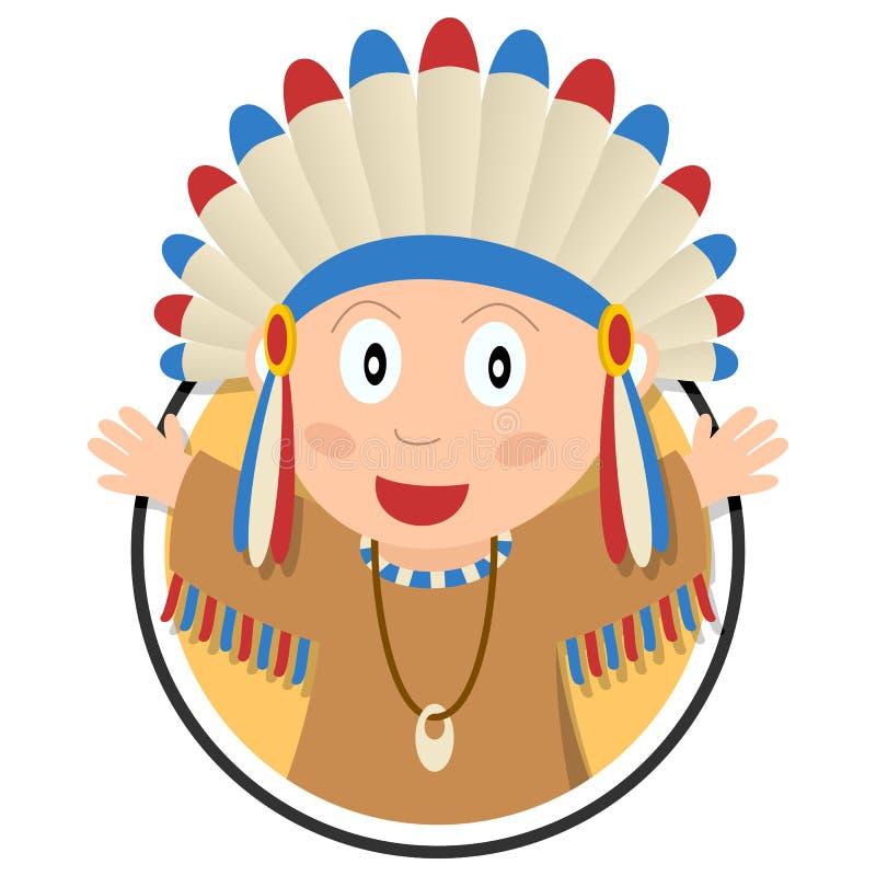 Amerykańsko-indiański dzieciaka logo ilustracji