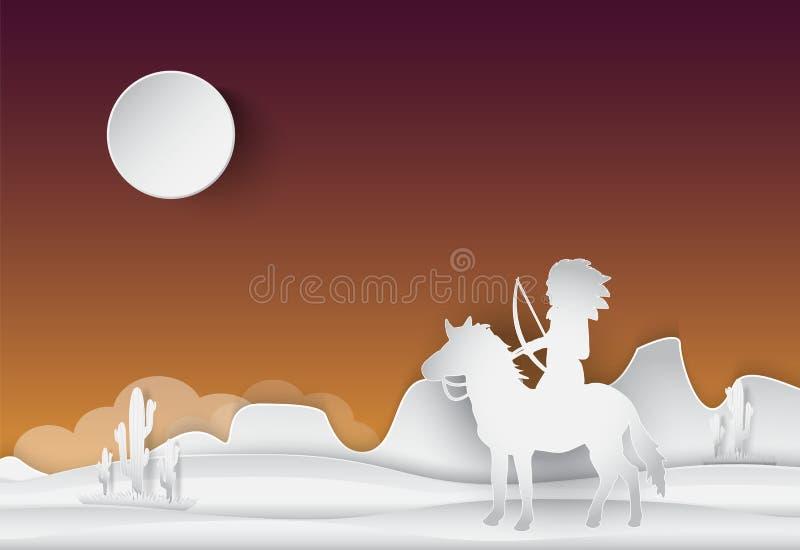 Amerykańsko-indiański miejscowy i koń, Saguaro kaktus w pustyni royalty ilustracja