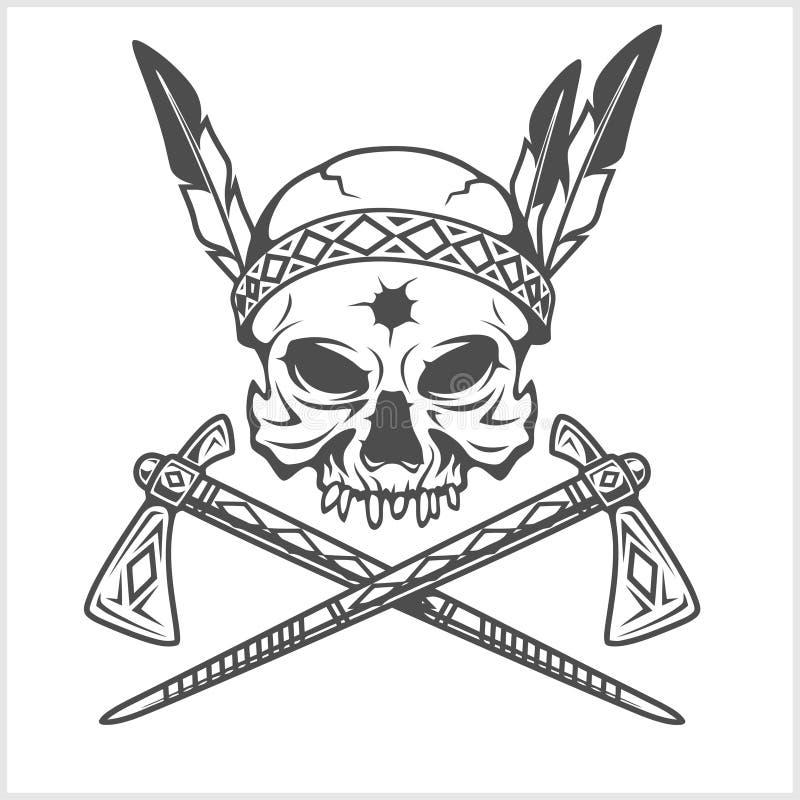 Amerykańsko-indiański Naczelna czaszka Z tomahawkiem ilustracji