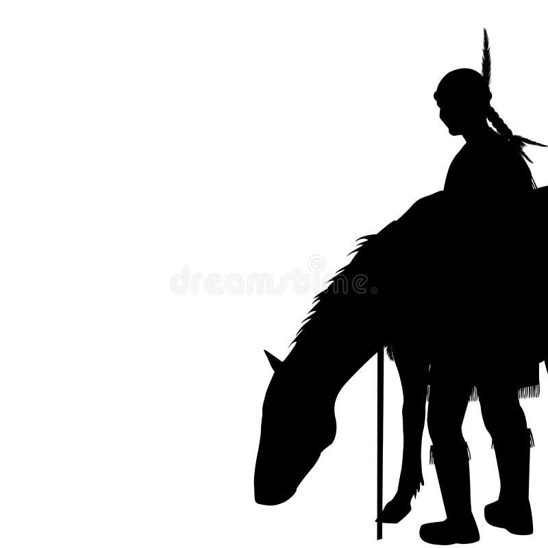 Amerykańsko-indiański sylwetka z koniem ilustracji