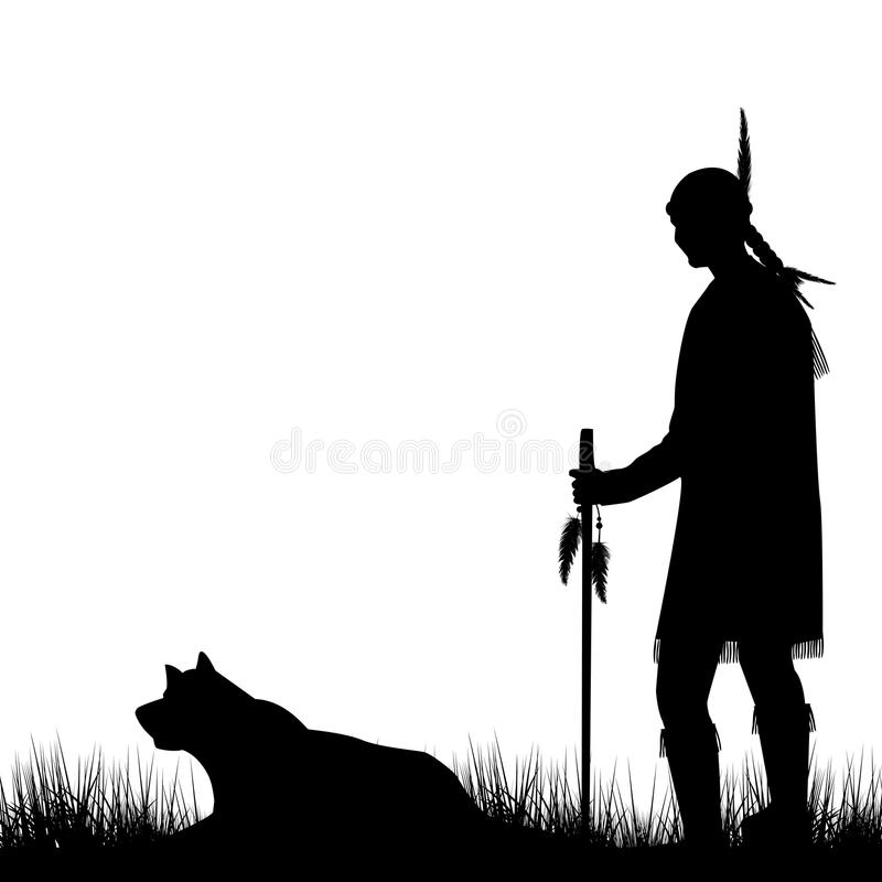 Amerykańsko-indiański sylwetka z psem royalty ilustracja