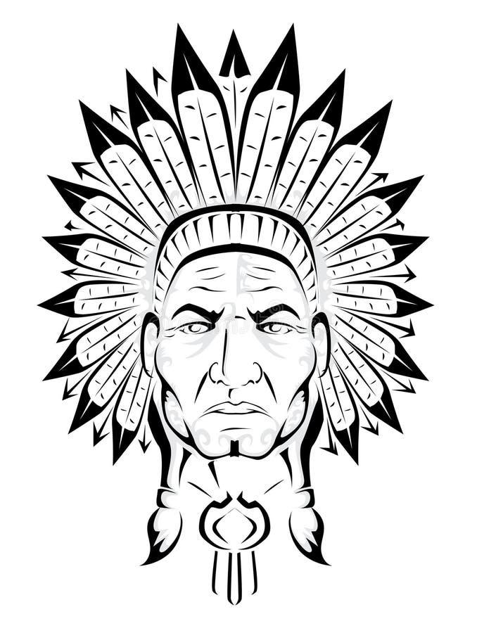 Amerykańsko-indiański szef ilustracja wektor