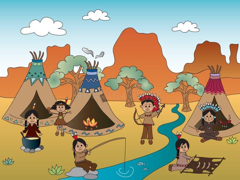 Amerykańsko-indiański wioska ilustracja wektor