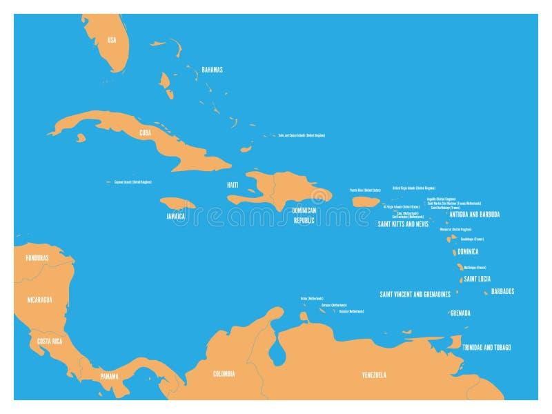 Ameryka Środkowa i Karaibskich stanów polityczna mapa Kolor żółty ziemia z czarnymi krajów imion etykietkami na błękitnym dennym  royalty ilustracja