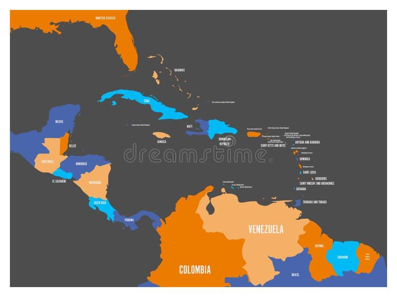 Ameryka Środkowa i Karaibskich stanów polityczna mapa z krajów imion etykietkami Prosta płaska wektorowa ilustracja ilustracja wektor