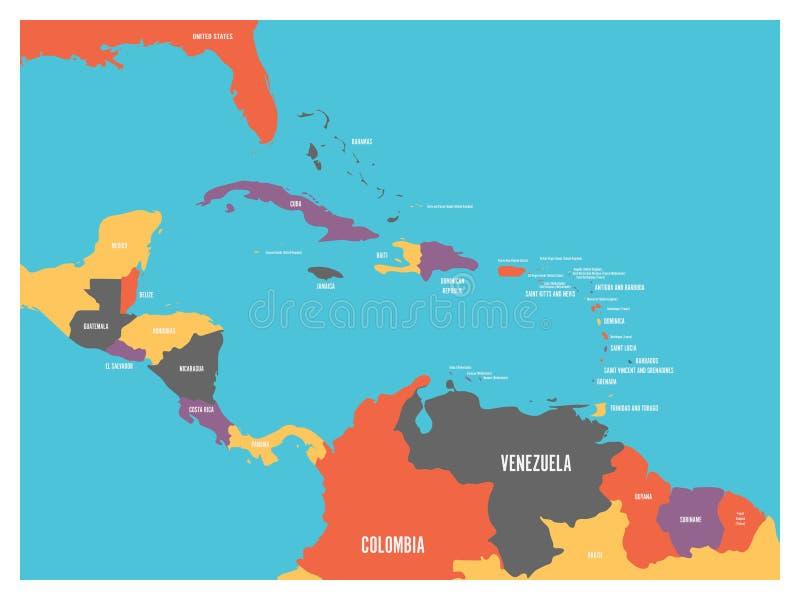 Ameryka Środkowa i Karaibskich stanów polityczna mapa z krajów imion etykietkami Prosta płaska wektorowa ilustracja royalty ilustracja