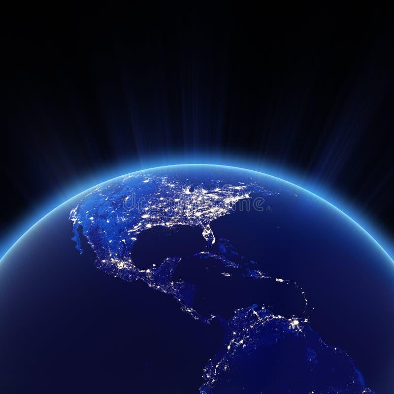 Ameryka Środkowa i usa miasta światła przy nocą ilustracji
