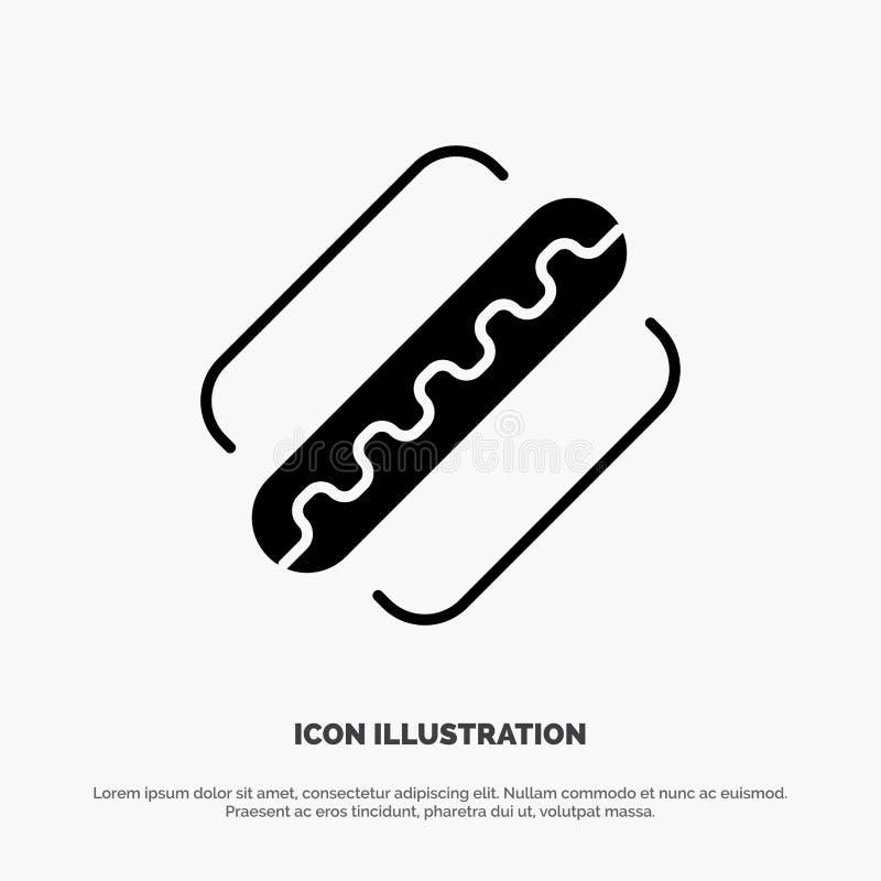 Ameryka, amerykanin, Hotdog, Twierdzi stałego glif ikony wektor ilustracja wektor