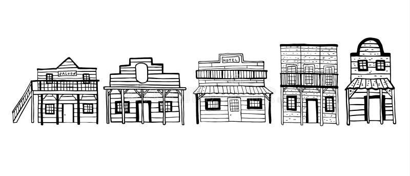 Ameryka Dzicy Zachodni grodzcy domy Konturu nakreślenia doodle wektoru ręka rysująca ilustracja royalty ilustracja
