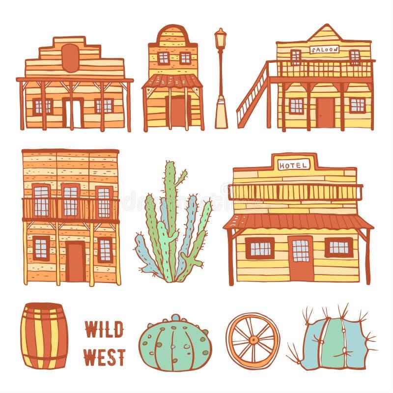 Ameryka Dzicy Zachodni grodzcy elementy ustawiający Koloru konturu nakreślenia doodle wektoru ręka rysująca ilustracja ilustracja wektor