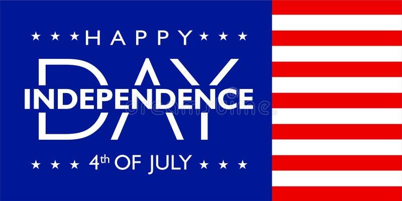 Ameryka dzień niepodległości 4th Lipiec z chorągwianym kolorem ilustracja wektor