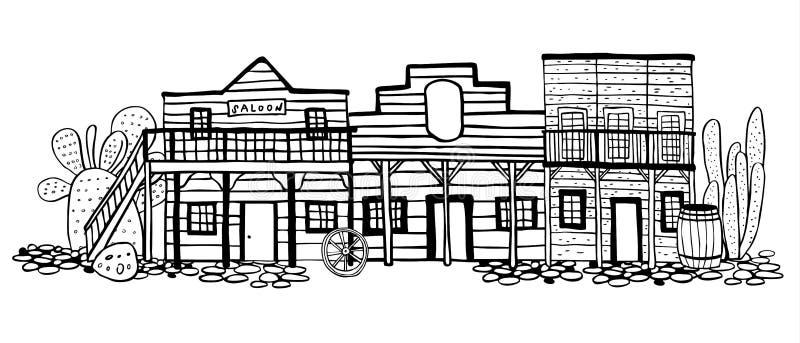 Ameryka Dziki Zachodni grodzki uliczny widok Ręka rysująca konturu nakreślenia doodle wektoru ilustracja ilustracji