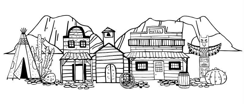 Ameryka Dziki Zachodni miasteczko z tipi, totemu słupem i górami na tle, Ręka rysująca konturu nakreślenia doodle wektoru ilustra ilustracji