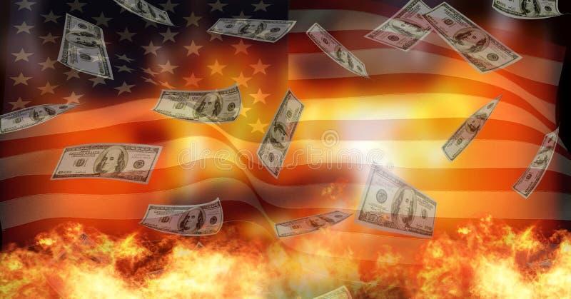 Ameryka flaga i palenie ogień ilustracja wektor