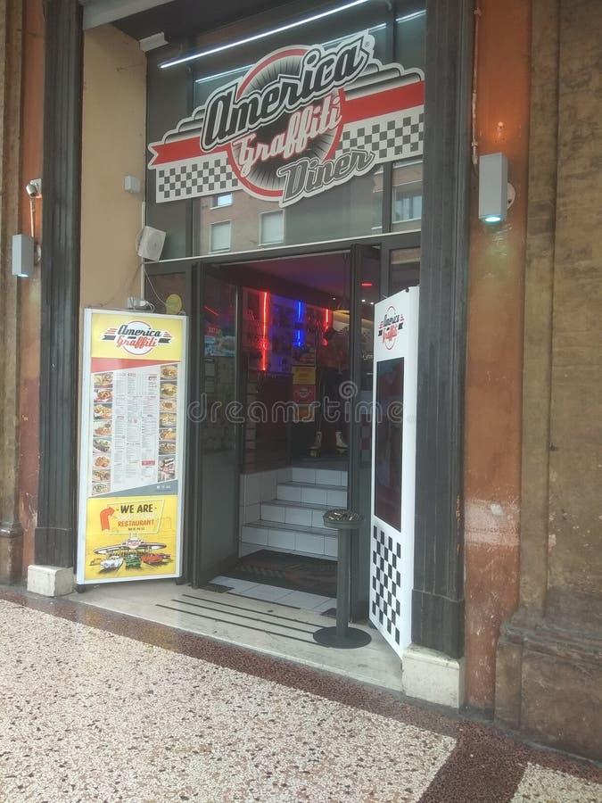 Ameryka Graffiti Diner w Bolonii fotografia stock