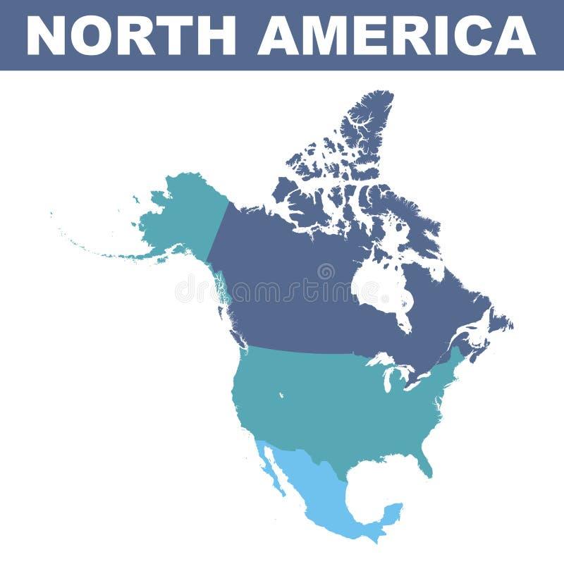 ameryka kontynentalna politycznej mapy na północ ilustracji