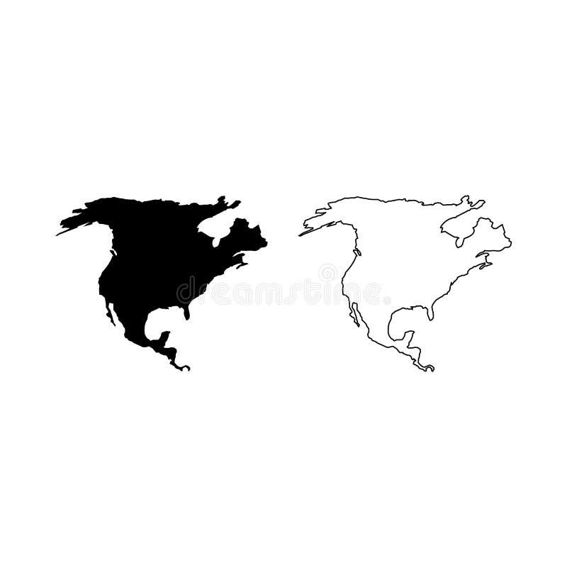 ameryka kontynentalna politycznej mapy na północ Płaski prosty projekt eps10 kwiatów pomarańcze wzoru stebnowania rac ric zaszywa royalty ilustracja