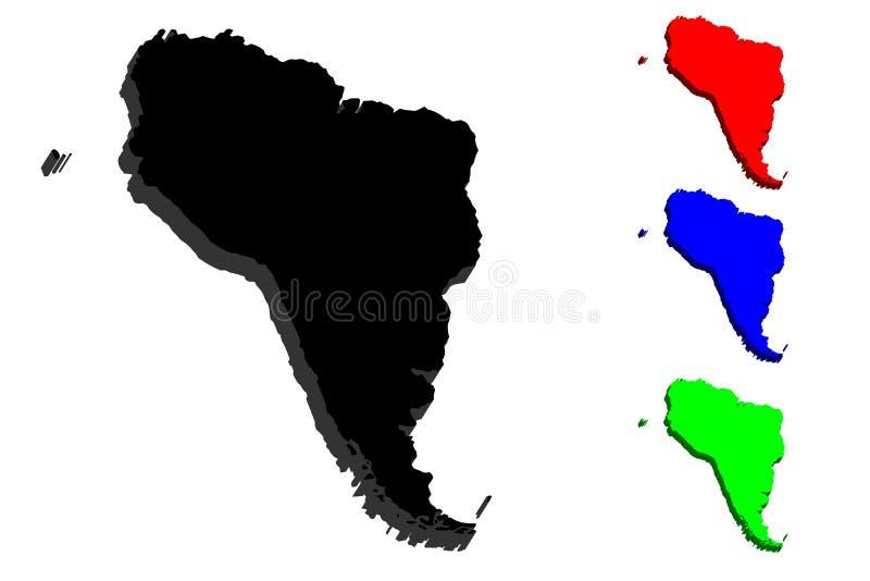 Ameryka mapy na 3 d ilustracji