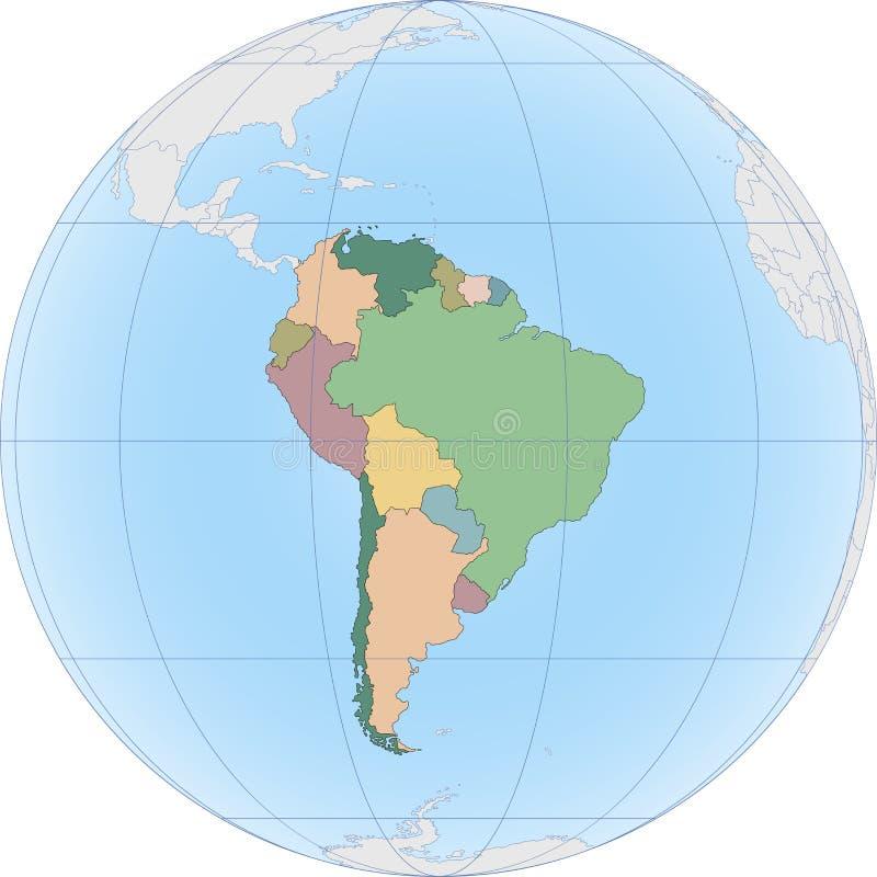Ameryka Południowa kontynent dzieli krajem ilustracji