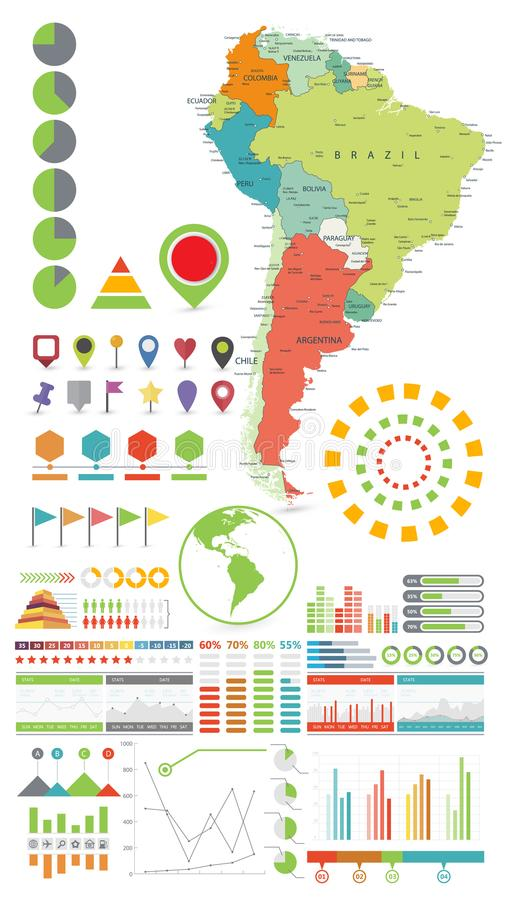 Ameryka Południowa mapa i Infographics projekt elementy Na biel ilustracji