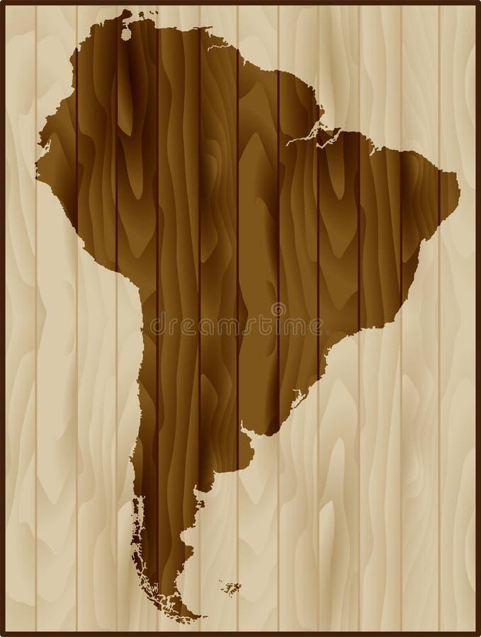 Ameryka Południowa mapa na drewnianym tle ilustracja wektor