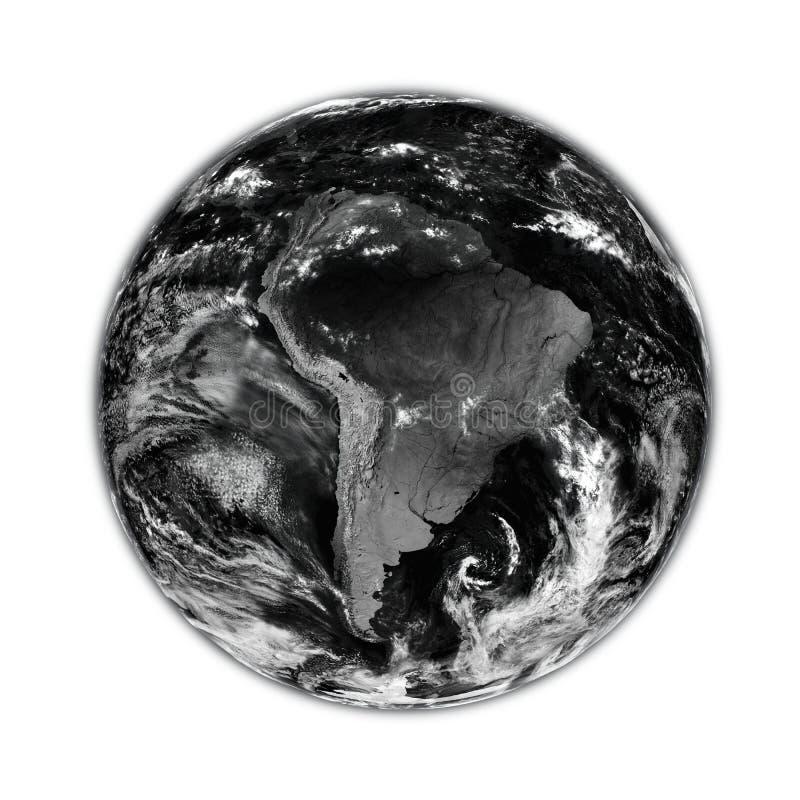 Ameryka Południowa na czerni ziemi royalty ilustracja