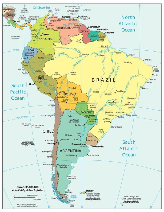 Ameryka Południowa regionu podziałów polityczna mapa ilustracja wektor