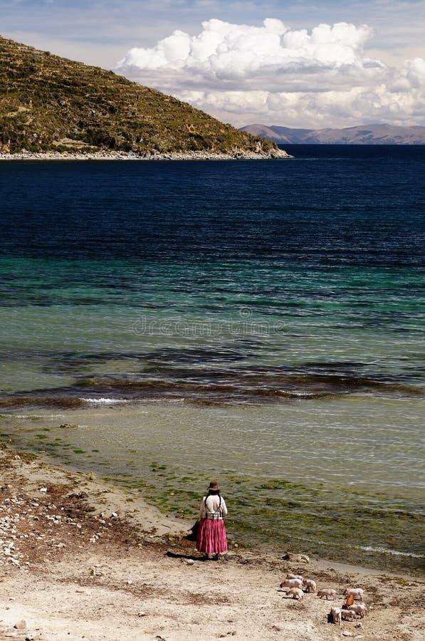 Ameryka Południowa, Titicaca jeziora krajobraz zdjęcie royalty free