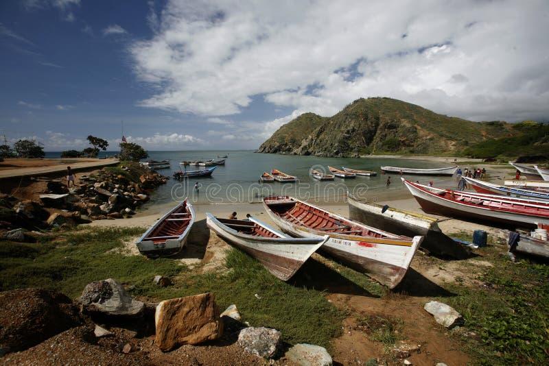 AMERYKA POŁUDNIOWA WENEZUELA ISLA MARGATITA PAMPATAR plaży wybrzeże fotografia stock