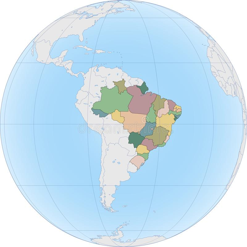 Ameryka Południowa z Brazylia na kuli ziemskiej zdjęcie royalty free