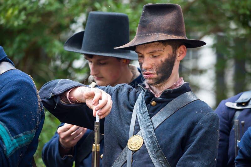 Ameryka?ski wojny domowej bitwy Reenactment obrazy royalty free